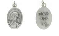 Medallion Sorrowful Mother Pray for Us Italian Silver Oxidized 1 inch