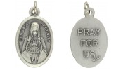 Medal Our Lady of Trinity Pray for Us Italian Silver Oxidized 1 inch