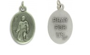 Medallion Saint Peregrine Patron Saint of Cancer Pray for Us Italian Silver Oxidized 1 inch