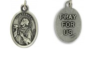 Medal Saint Stephen Patron Saint of Altar Servers Pray for Us Italian Silver Oxidized 1 inch