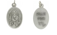Medallion Saint Nicholas Patron Saint of Children Pray for Us Italian Silver Oxidized 1 inch
