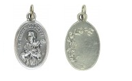 Medallion Saint Maria Goretti Patron Saint of Victims of Rape Pray for Us Italian Silver Oxidized 1 inch
