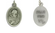 Medallion Saint Albertus Magnus The Great Patron Saint of Scientist Pray For Us Pray for Us Italian Silver Oxidized 1 inch