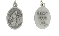 Medallion Saint John of God Patron Saint of Nurses Pray for Us Italian Silver Oxidized 1 inch