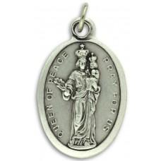 Medallion Queen of Peace Pray for Us Italian Silver Oxidized 1 inch