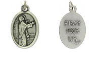 Medallion Saint Genevieve Patron Saint of Paris Pray for Us Italian Silver Oxidized 1 inch