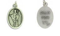 Medallion Saint Richard Patron Saint of Coachmen Pray for Us Italian Silver Oxidized 1 inch