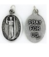 Medallion San Juan Capistrano Patron Saint of Jurists and Military Chaplains Pray for Us Italian Silver Oxidized 1 inch