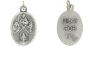 Medal Four Way Cross Sacred Heart Joseph Christopher Miraculous Dove Pray for Us Italian Silver Oxidized 1 inch