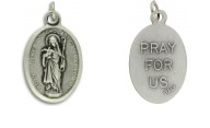 Medallion Holy Mother Saint Scholastica Patron Saint of Nuns Pray for Us Italian Silver Oxidized 1 inch