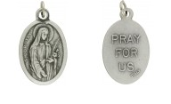 Medallion Saint Dorothy Patron Saint of Florists Pray for Us Italian Silver Oxidized 1 inch