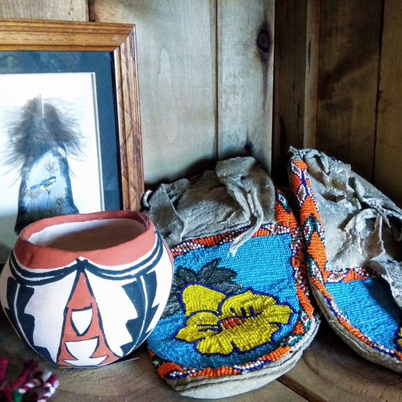 Native American Handcrafted Mocassins Intricate Handsewn Beadwork Origins and Age Unknown Vintage Well Worn For Decorative & Collective Use Only