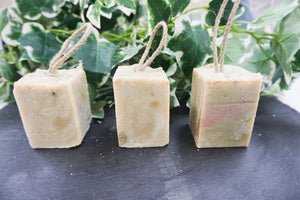 Peppermint Sours, Cold processed soap on a rope, - thenaturalspa