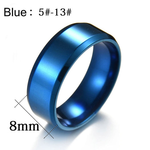 Men Black Titanium Stainless Ring