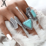 SILVER-TONE TURQUOISE COLOR RING SET