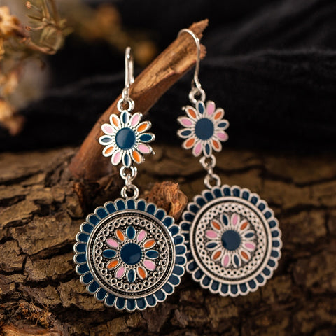 Vintage Ethnic Flower Oil Drop Earrings