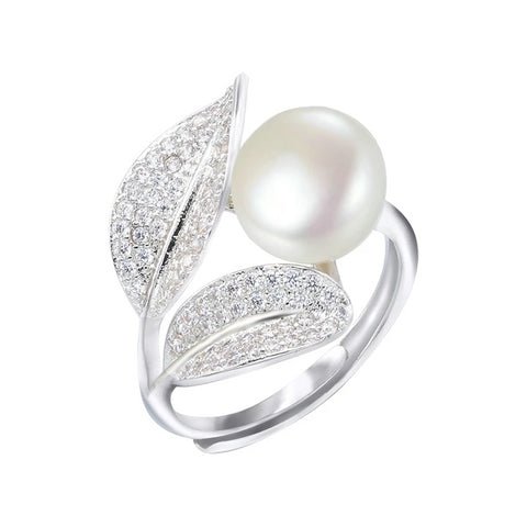 PEARL OPEN-SPACE LEAF RING