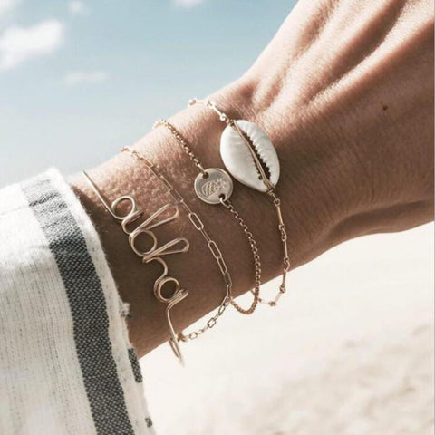 3 PIECE COWRIE SHELL BRACELET SET