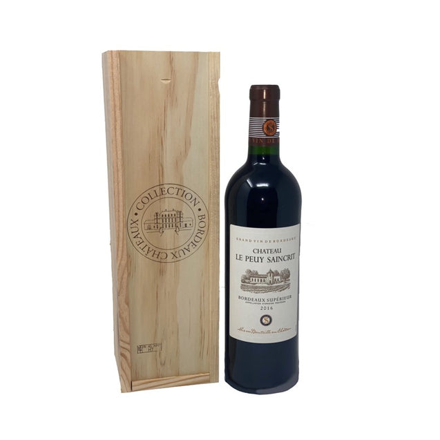 Chateau Le Peuy Saincrit Wooden Giftbox 75cl
