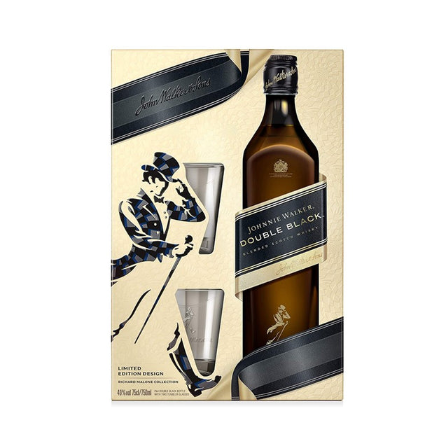 Johnnie Walker Double Black Whisky Glass Tumblers Gift Pack