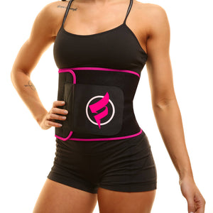 pink fitru waist trimmer worn by cally