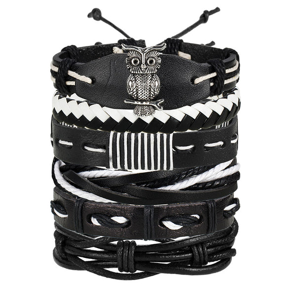 IF ME Vintage Leaf Feather Multilayer Leather Bracelet Men Fashion Braided Handmade Star Rope Wrap Bracelets & Bangles Male Gift