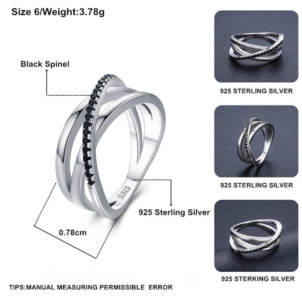 Black Spinel Wedding Rings 3.9g Sterling Silver