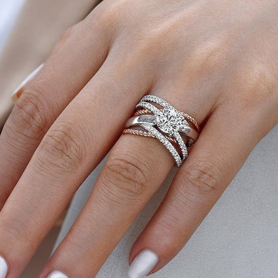 925 Silver AAA Zircon Luxury CUrve Intersection Female Crystal Round Stone Ring
