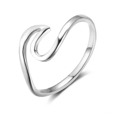 Simple Style 925 Sterling Silver Rings for Women Wave Shape Size Ring