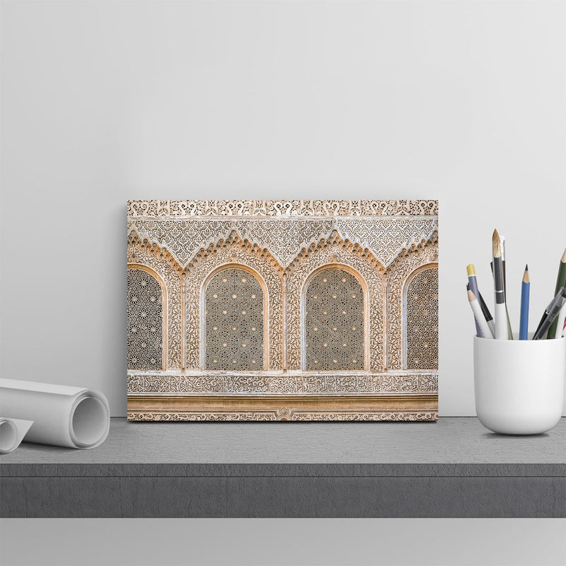 インテリア・フォトパネル「Carved plaster wall, Ben Youssef Madrasa, 16th century Islamic College, UNESCO World Heritage Site, Marrakesh, Morocco, North Af」を飾ったイメージ画像(amana online storeの額装商品画像)