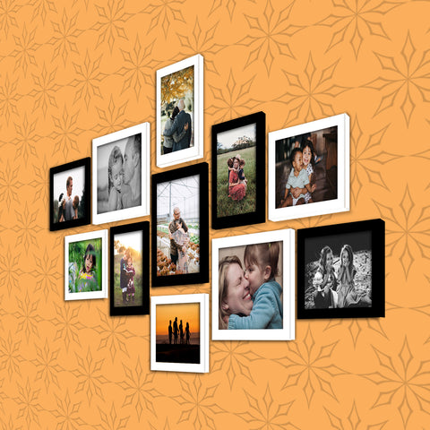 WhatsYourPrint Synthetic Wood Photo Frame Set of 11 Frames (8pc: 6x8 inches & 3Pc: 8x10 inches, Black and White)