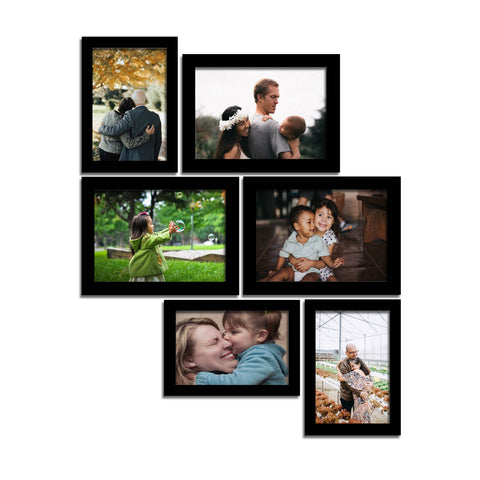 WhatsYourPrint Synthetic Wood Photo Frame Set of 6 Frames (3pc: 6x4 inches & 3Pc: 5x7 inches, Black)