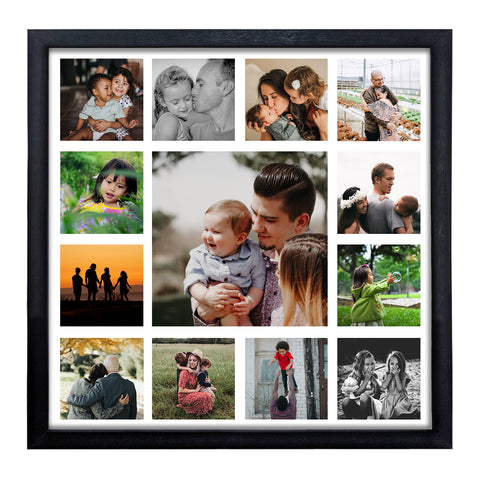 WhatsYourPrint Personalized Synthetic Wood Photo Frames-Collage of 13 Photos (13x13 Inches Framed with PlexiGlass, Black)