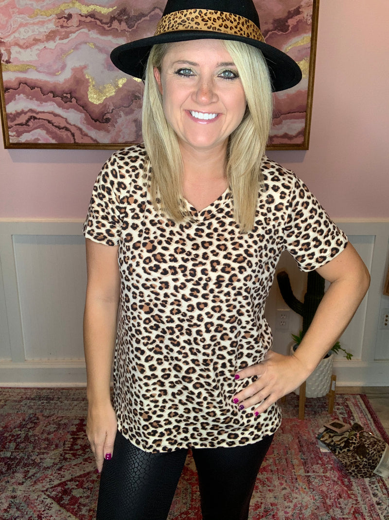 Leopard V-neck Blouse