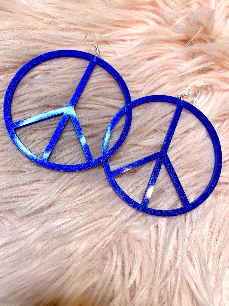 Peace Sign Earrings-Large