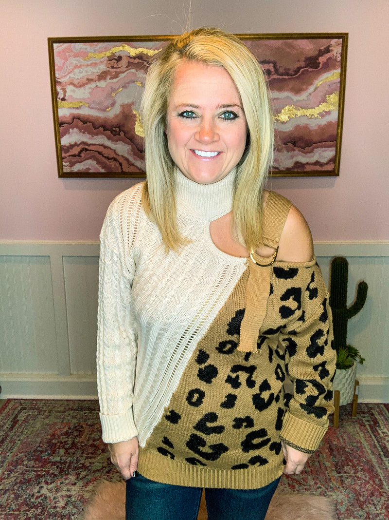 Cold Shoulder Leopard Sweater
