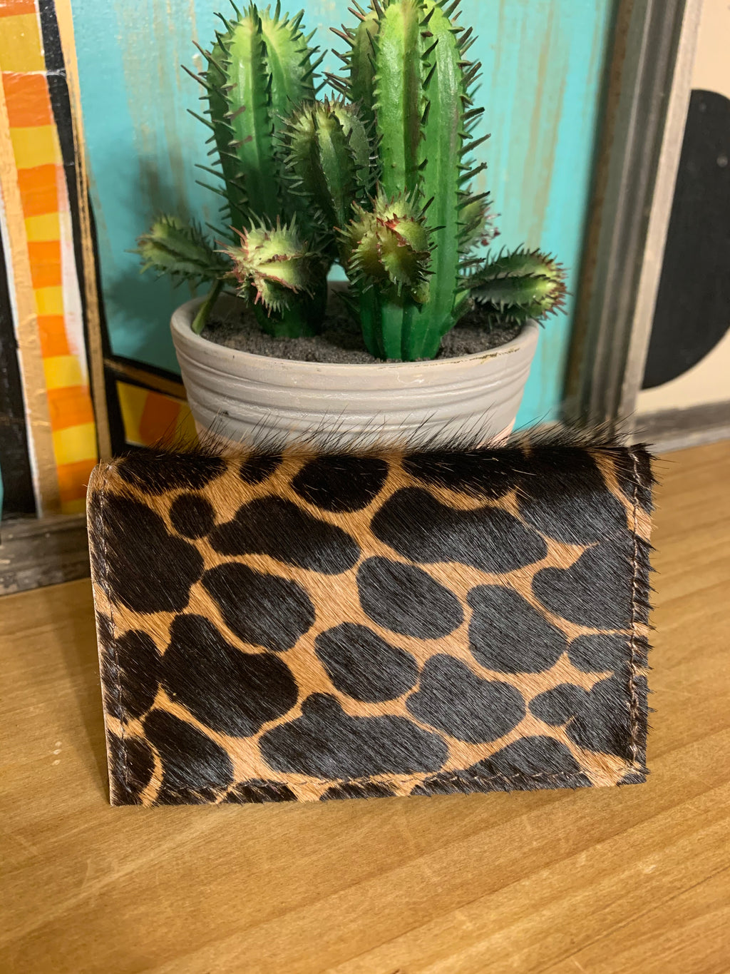 Upcycled Credit Card Holder-Leopard Cowhide
