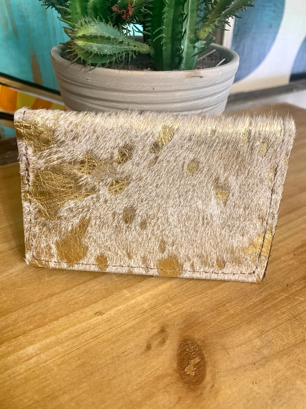 Upcycled Credit Card Holder-White Metallic Cowhide