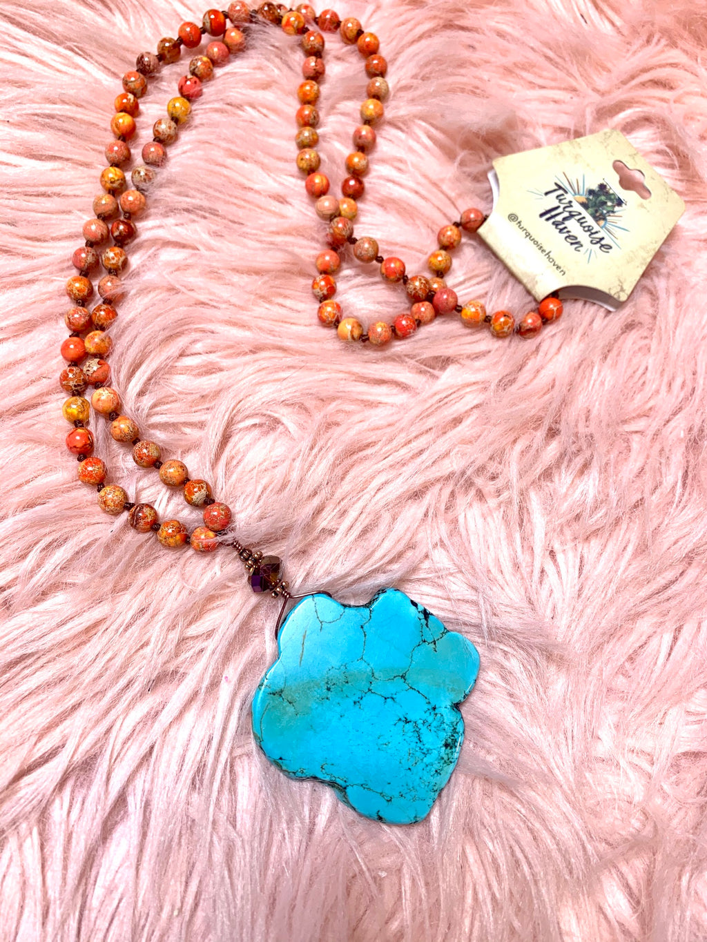 Turquoise Slab Necklace-Orange