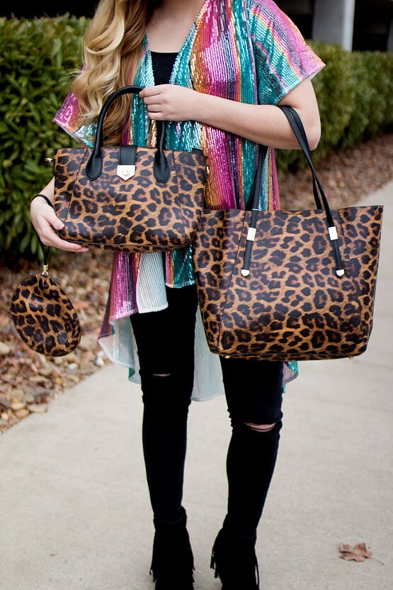 3 in 1 Leopard Handbag