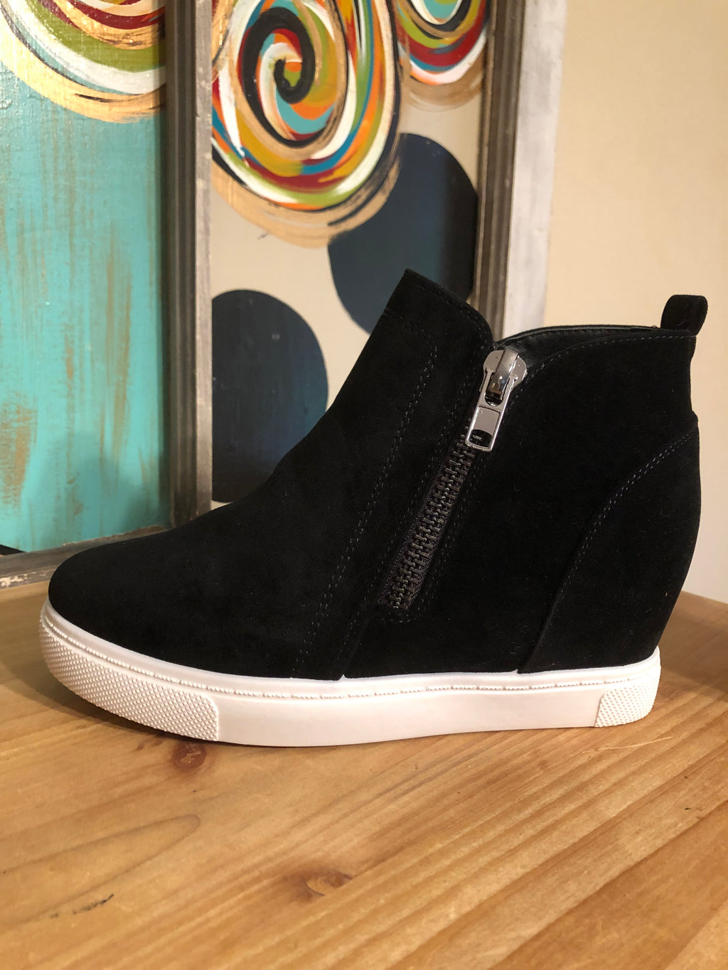Black Wedge Sneakers with Double Zipper