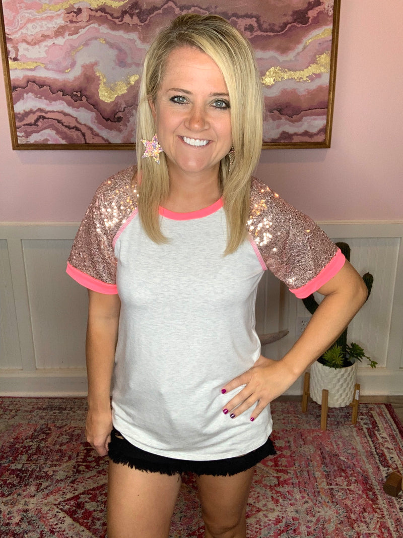 Hot Pink Sequin Sleeve Top