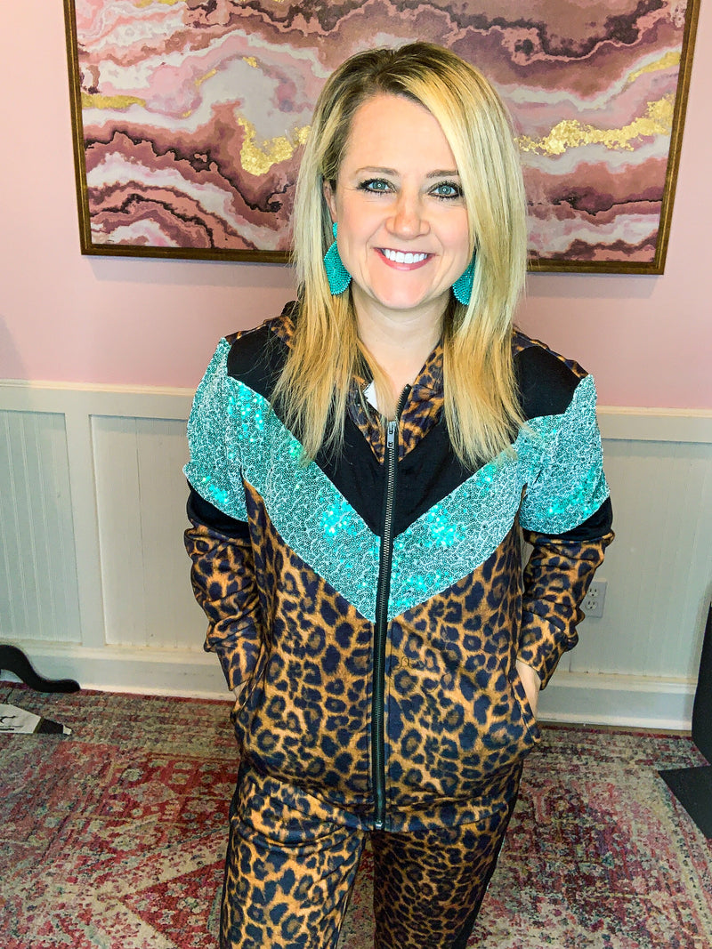 Leopard Sequin Track Suit