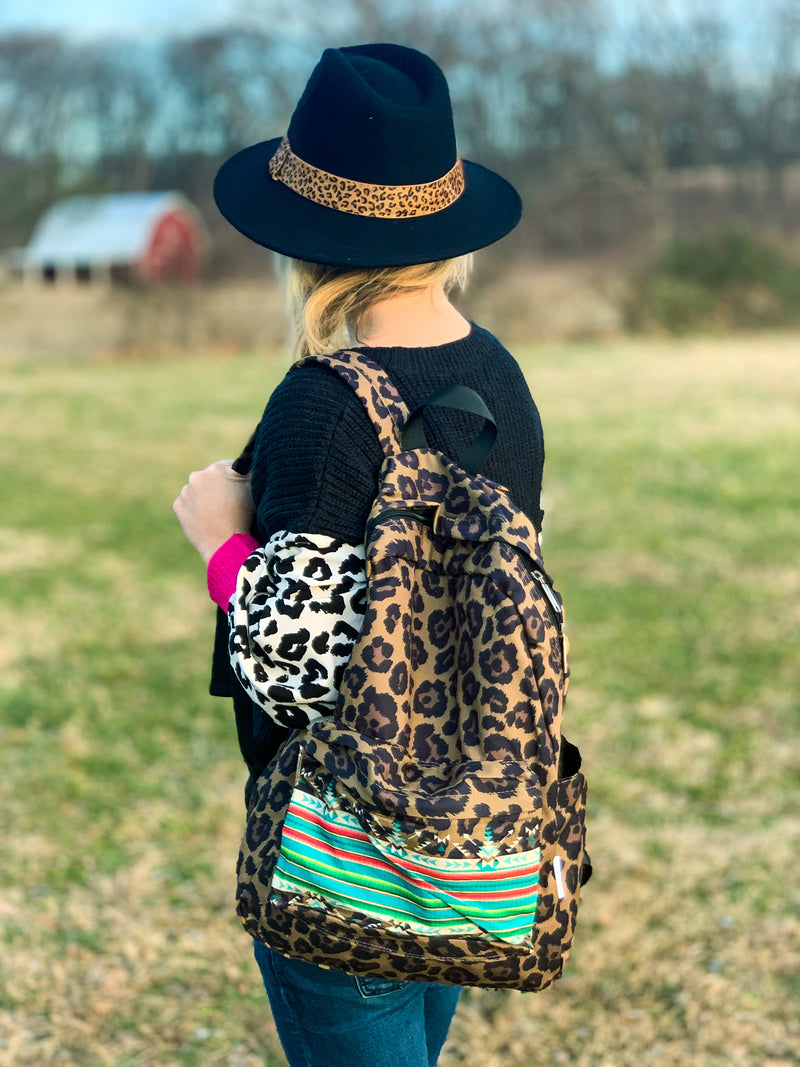 Aztec Leopard Print Backpack