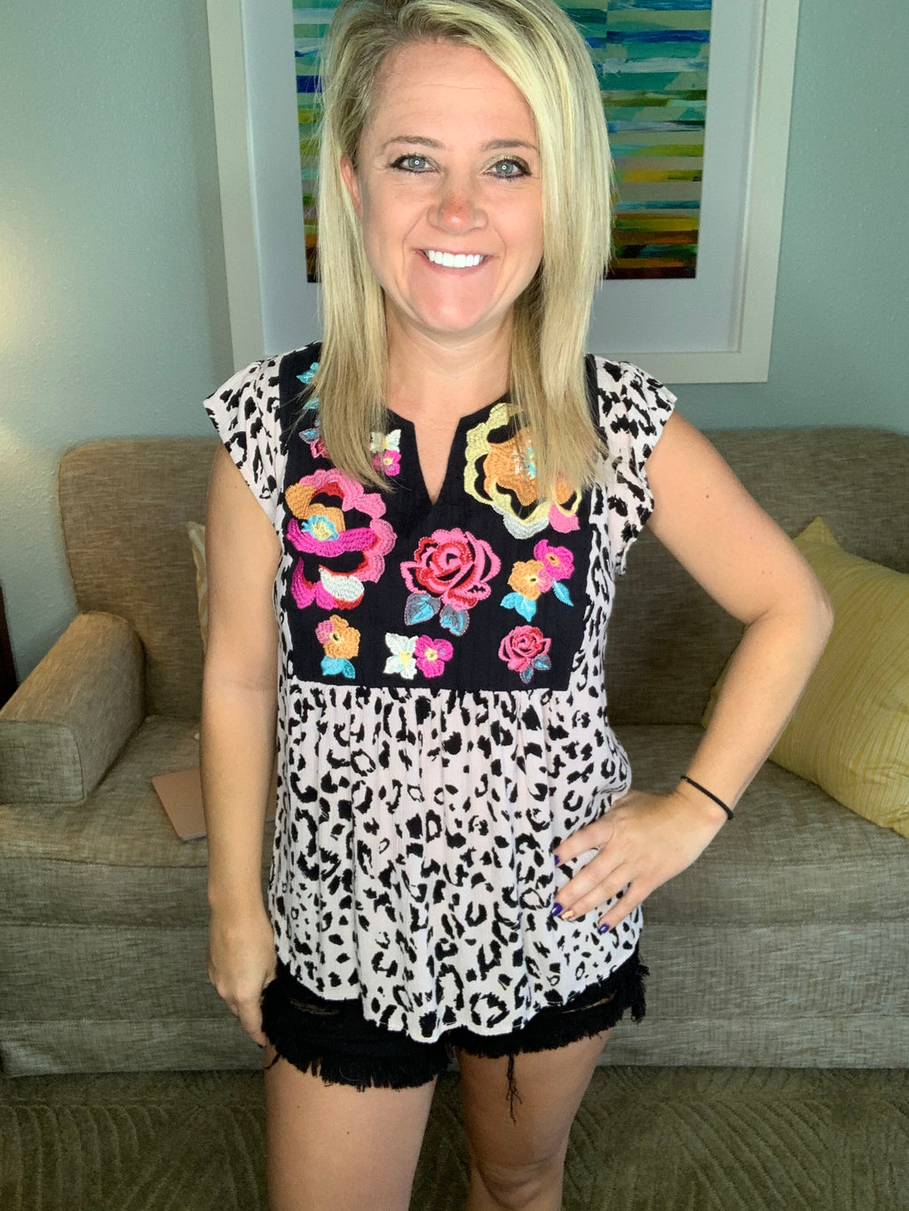 Embroidered Floral Leopard Top