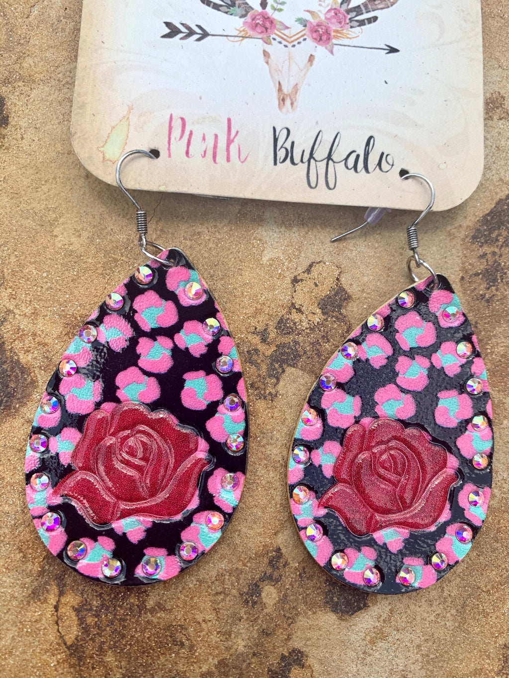 Rose Leopard Earrings