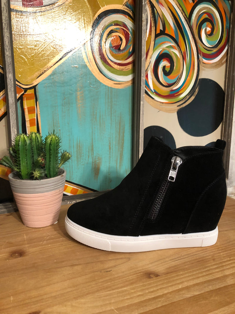 Black Wedge Sneakers with Double Zipper - The Pink Buffalo,LLC