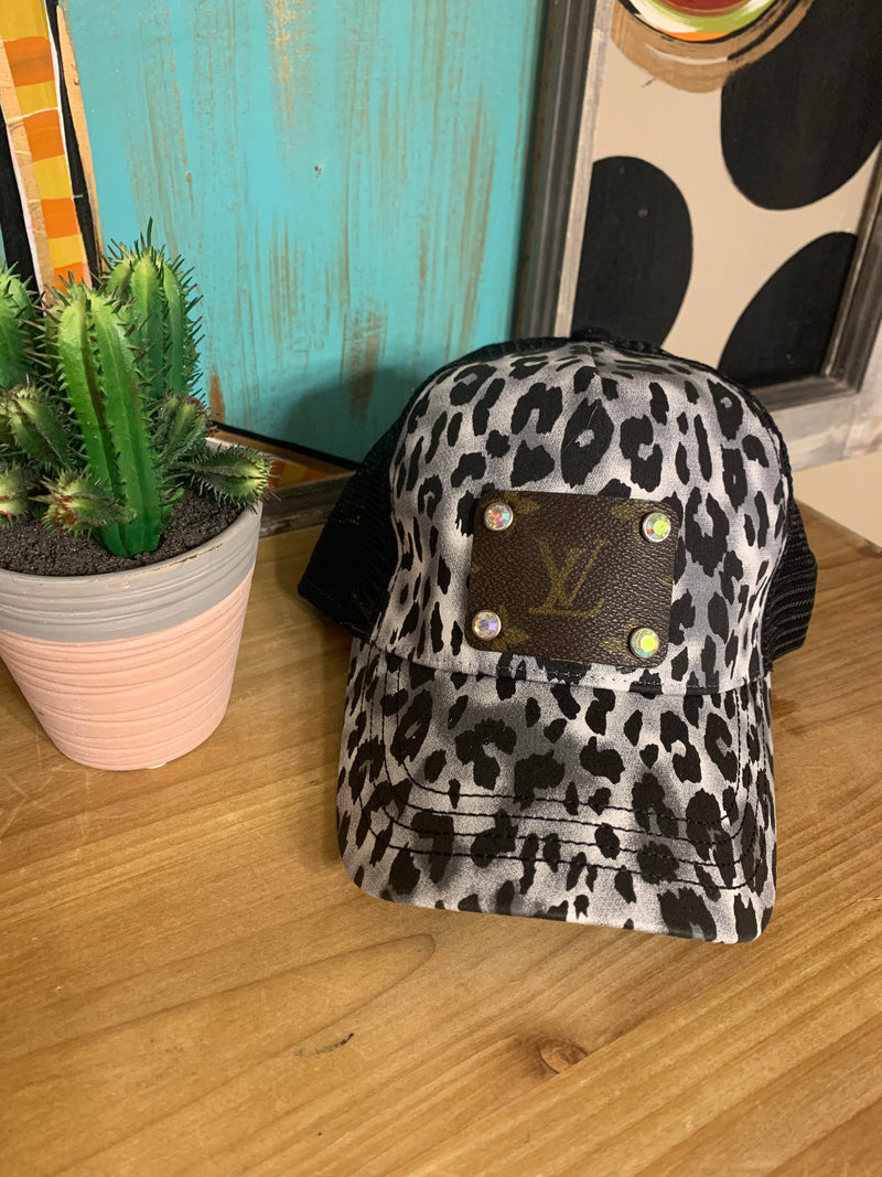 Upcycled Gray Leopard Cap
