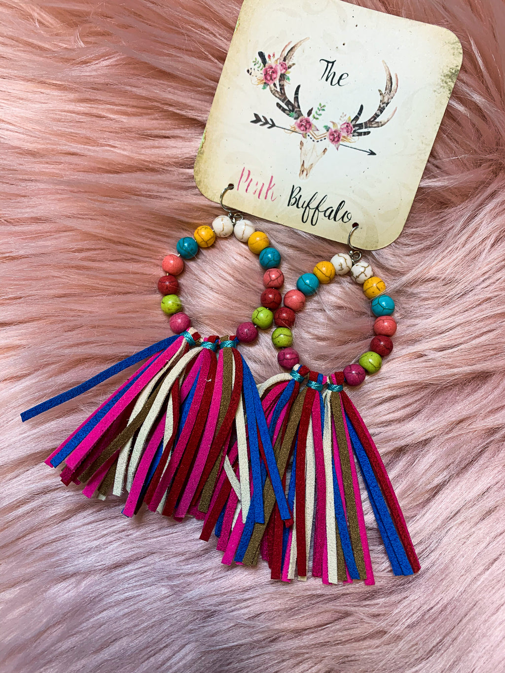 Multicolored Fringe Earrings