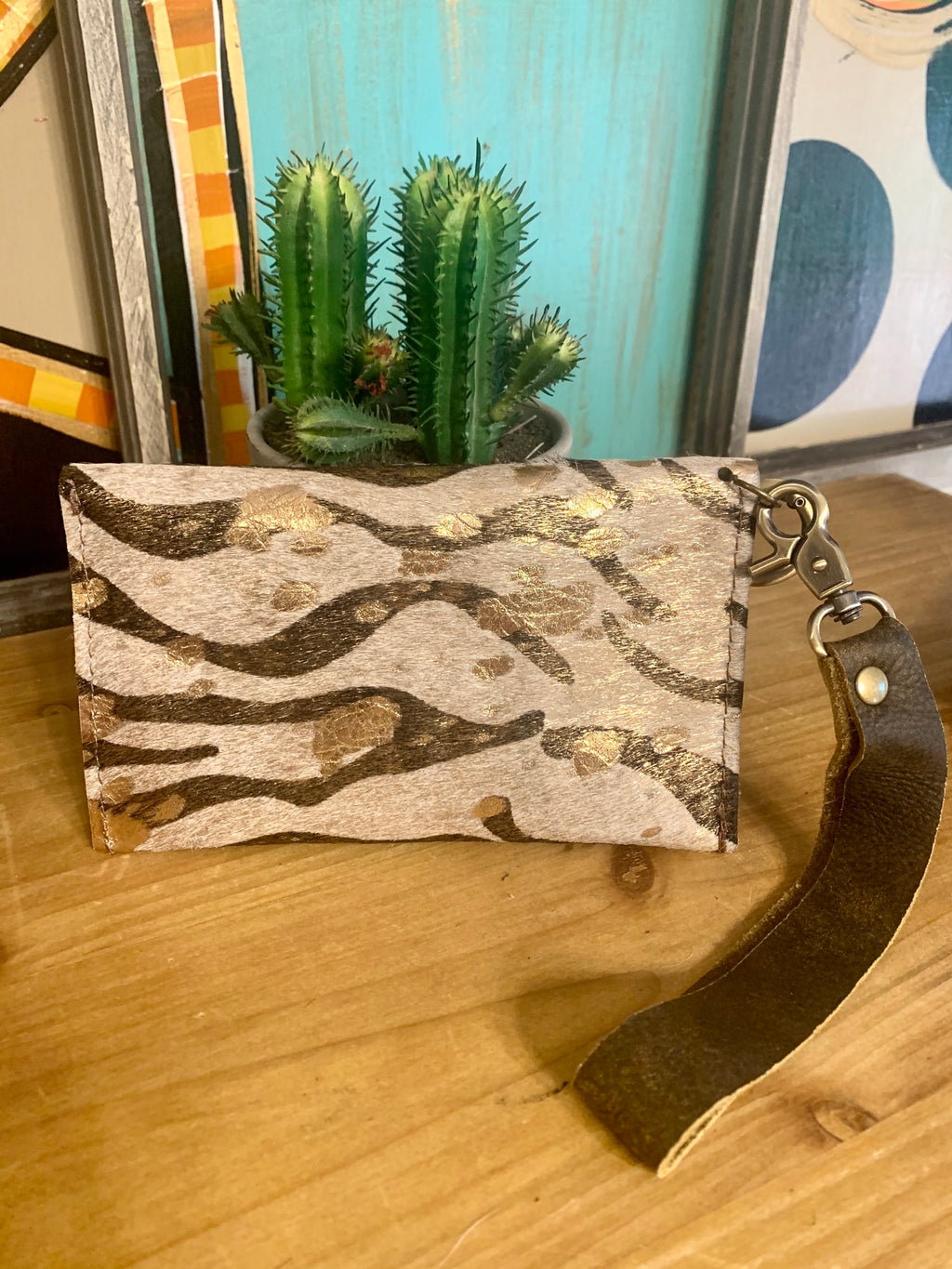 Upcycled Wristlet-Metallic Gold